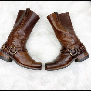 Frye Harness Brown Leather Boots Size 8